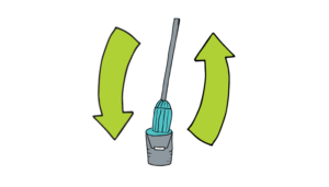 Mop and pail with recycle arrows
